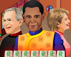 Bush Obama and Clinton playing Mahjong Titans