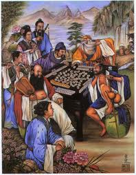 Ancient Chinese Playing Mahjong